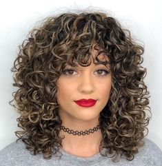 Mid-Length Curly Hairstyle with Curly Bangs - TOP/BANG IDEA