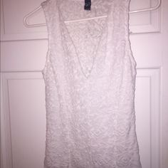 White Lace Tank Top Very cute shirt for a nice dinner/going out! Worn once :) WINDSOR Tops Blouses