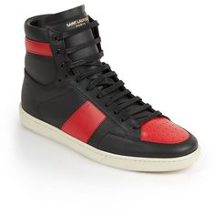 Saint Laurent Colorblock Leather High-Top Sneakers (2.025 BRL) ❤ liked on Polyvore featuring men's fashion, men's shoes, men's sneakers, apparel & accessories, mens high top sneakers, mens lace up shoes, mens high top shoes, mens leather shoes and mens two tone shoes