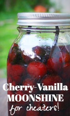 Cherry Moonshine for Cheaters (no still, less waiting) Party Drinks, Fun Drinks, Yummy Drinks, Cocktail Drinks, Cocktail Recipes, Alcoholic Drinks, Mixed Drinks, Cherry Moonshine Recipe, Moonshine Recipes Homemade