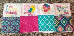 A personal favorite from my Etsy shop https://www.etsy.com/listing/468378918/baby-girls-burp-cloth-set-burp-cloths