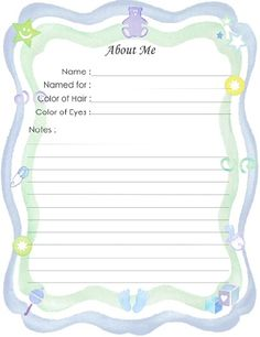 "Free Printable Baby Book Page, ""About Me (Boy)"""