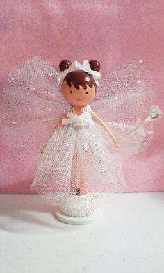 White Fairy Miniature Wooden Clothespin Doll- Custom Listing SugarlandDollHouse
