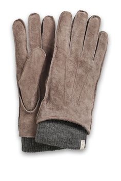 Esprit / Leren handschoenen met gebreide boord