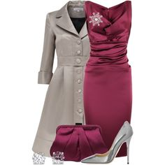 Evening Outfits Burgundy Dress And Metallic Pumps