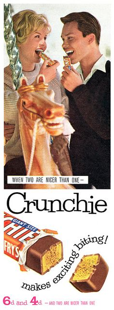 Crunchie makes exciting biting! Vintage Food Labels, Vintage Candy, Vintage Recipes, Retro Vintage, Hershey Hugs, Vintage Advertisements, Ads, Old Candy, Classic Candy