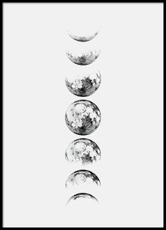 Moon Phase Gray, poster in the group Posters / Dimensions / at Desenio A . - Moon Phase Gray, poster in the group Posters / Dimensions / at Desenio AB - Tattoo Mond, I Tattoo, Poster Shop, Poster Prints, Poster Poster, Wall Art Prints, Body Art Tattoos, Tatoos, Gold Poster