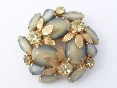 Floral brooch tan and grey atr glass gold tone leaves AL85 by MeyankeeGliterz on Etsy