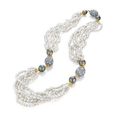 Verdura RAJA NECKLACE Tahitian cultured pearl, keshi pearl, moonstone and gold. Individual pearls and price may vary.