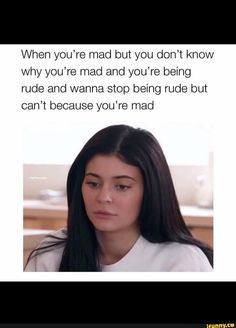 When you're mad but you don't know why you're mad and you're being rude and wanna stop being rude but can't because you're mad - iFunny :) Really Funny Memes, Stupid Funny Memes, Funny Facts, Funny Tweets, Haha Funny, Rude Meme, Kourtney Kardashian, Kardashian Memes, Robert Kardashian Jr