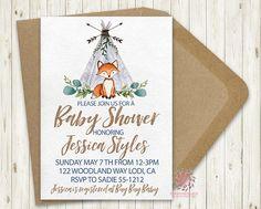 Woodland Teepee Fox Baby Boy Shower Birthday Party Printable Invite Bridal Baby Shower Invitation
