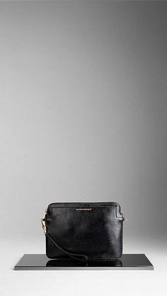 London Leather Crossbody iPad Case   Burberry