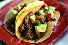 Shredded Beef Tacos with Avocado and Lime