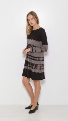 Raquel Allegra Long Sleeve Bell Dress in Tie Dye Black | The Dreslyn