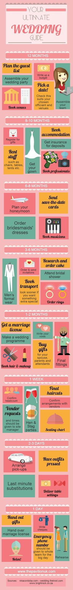 Month by Month #Wedding Guide created by The Pavillion: http://www.thepavilionuk.com