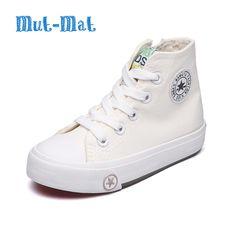 1c8b3b595 2017 de primavera y otoño niño zapatos de lona blanca de alta zapatillas de  deporte zapatos