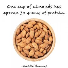 Dana McDonald, RD, LD -- Rebel Dietitian and Proud Texas Girl Ready to Rock Your Healthy Soul -- Rebel. Clean Eating Recipes, Clean Eating Snacks, Healthy Snacks, Healthy Eating, Healthy Tips, Healthy Recipes, Protein In Almonds, Protein Chart, 30 Grams Of Protein