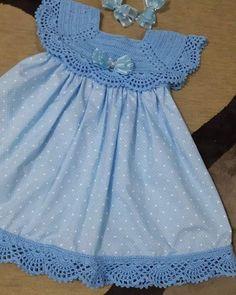 Crochet Yoke, Crochet Vest Pattern, Crochet Fabric, Baby Knitting Patterns, Knitting Ideas, Crochet Patterns, Little Dresses, Little Girl Dresses, Girls Dresses