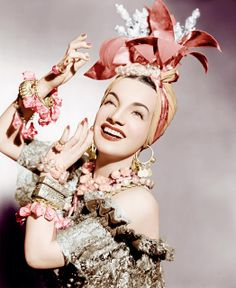 """Carmen Miranda recorded """"Chica Chica Boom Chic,"""" which she would introduce in the film """"That Night in Rio."""" What is your favorite Miranda song? Photo of Miranda from the L. Carmen Miranda, Classic Hollywood, Old Hollywood, Hollywood Cinema, Hollywood Style, Hollywood Icons, Hollywood Glamour, Divas, Brazilian Samba"""
