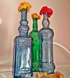 Old glass bottles ideas
