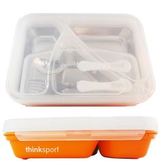 Thinksport BPA Free Airtight Stainless Steel Lunch Container with Fork and Spoon, Orange, Size: CT, Multicolor Stainless Steel Lunch Containers, Forks And Spoons, Food Containers, Bento Box, Organic Recipes, 1 Piece, Color Mixing, Counting, All In One