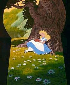 Alice in Wonderland cartoon through keyhole via www.Facebook.com/DisneylandForMisfits