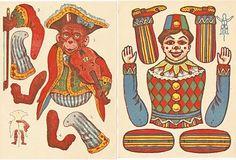 Free Vintage Clip Art - Swedish Paper Dolls, Circus Monkey and Clown
