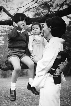Prince Naruhito, with his mother, Crown Princess Michiko, and young sister, Princess Nori, at Togu Palace in Tokyo. 1971
