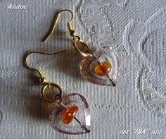 Boucles d'oreille Coeur et perle d'Ambre
