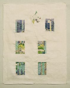 "margaret hull  ""Sous l'Escalier,"" hand embroidery on found linen, 16 x 20 in, 2012"