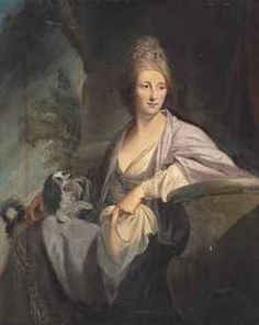 Attributed to Tilly Kettle (London 1734-1786 Aleppo)  Portrait of a lady, three-quarter-length, in a white dress, seated in a landscape with a spaniel