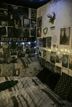 i love the nature-y vibe in this room combined with the band posters and stuff :)