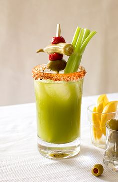 Tomatillo Bloody Mary from NOLA bartender Jimmy Syock's Atchafalaya Restaurant's Bloody Mary Bar...from Garden & Gun