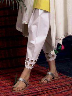 Design Details For Bottoms - Threads - WeRIndia Kurti Sleeves Design, Kurta Neck Design, Sleeves Designs For Dresses, Neck Designs For Suits, Sleeve Designs, Pakistani Fashion Casual, Pakistani Dresses Casual, Pakistani Dress Design, Pakistani Bridal