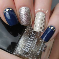 Navy blue ivory glitter nails. Instagram photo by annkristin0 #nail #nails #nailart