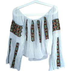 Stunning Antique hand embroidered folk peasant traditional Romanian floss silk blouse