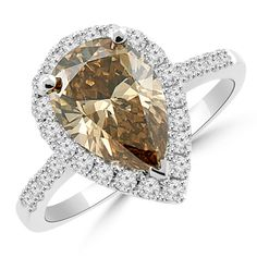 Jewelry Point - 2.47ct VS1 Pear Champagne Brown Diamond Engagement Ring 18k Gold, $7,500.00 (http://www.jewelrypoint.com/2-47ct-vs1-pear-champagne-brown-diamond-engagement-ring-18k-gold/)