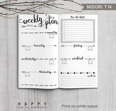 Printable Bullet Journal Weekly inserts Midori Weekly