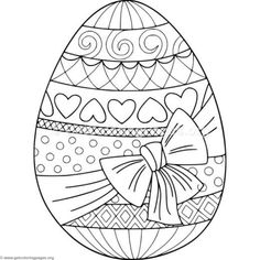 Doodle coloring book page easter egg with bow. Anti-stress coloring for adults and children Easter Egg Coloring Pages, Coloring Book Pages, Doodle Coloring, Coloring Pages For Kids, Easter Art, Easter Crafts, Kids Crafts, Printable Adult Coloring Pages, Easter Colors