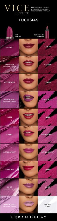 lipstick tips You can never go wrong with a few Fuchsias! From Moshpit to Vanity Kills, get these killer shades of Vice Lipstick and more now at Urban Decay. Urban Decay Vice Lipstick, Urban Decay Makeup, All Things Beauty, Beauty Make Up, Maquillage Yeux Cut Crease, Maybelline, Lipstick Collection, Makeup Swatches, Skin Makeup