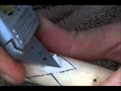 How to carve a scale pattern on a walking stick - YouTube