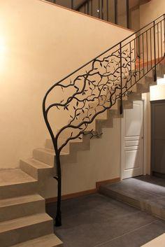 """Rampe d'escalier - fer forgé """"végétal"""" ferronnerie d'art"""