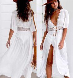 £2.99 GBP - Women Chiffon Kimono Beach Cardigan Bikini Cover Up Wrap Beachwear Long Blouse #ebay #Fashion