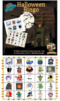 What's a Halloween party without bingo! This is a carefully crafted Halloween bingo game that was developed specifically for classroom use. There are 30 different bingo boards to accommodate large groups. Each of the large calling cards includes a text description for ease of calling. All of the boards have clear and colorful graphics that also include text titles so participants can easily identify the symbol being called. These boards should provide years of Halloween fun! $
