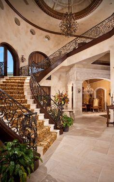 Stunning foyer and staircase | Sun West Custom Homes ᘡղbᘠ