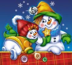 Frolicking Snowmen - IMAGES NOEL