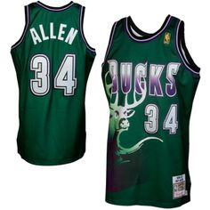 20d7e0036fa0 Mitchell   Ness Ray Allen Milwaukee Bucks 1996-1997 Hardwood Classics  Throwback Authentic Jersey - Green