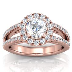 Engagement Ring Halo Rose Gold 9