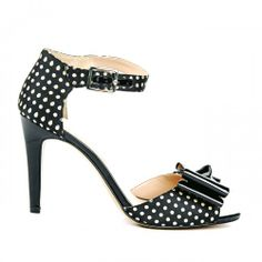 Kasha bow detail heel - Dark Cream Black