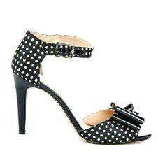 Kasha bow detail heel - Dark Cream Black